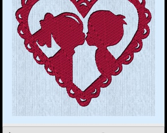 Boy and Girl in Heart - for 100 mm x 100 mm hoop