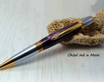 Wall street styled twist pen with Black Cherry Alumilite Resin and Chrome