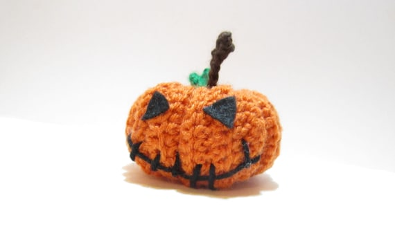 Jack-o'-Lantern Decoration, Crochet Pumpkin Plushie, Fall Decor - Handmade Gourd Ornament