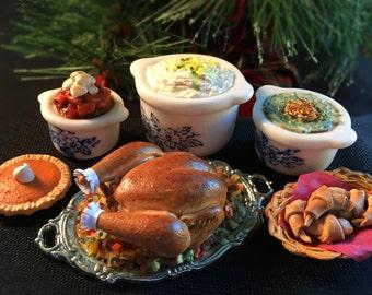 Miniature Dollhouse Thanksgiving or Christmas Turkey Dinner