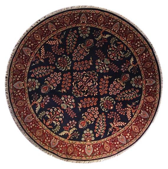 Round Wool Persian Rug: Round Persian Sarouk Rug 8x8 Handmade Rug Wool By