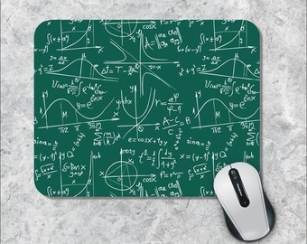 Math Mousepad, Science Mousepad, Green Chalkboard Mouse Pad, Formulas Mouse Mat, Custom Mousepad,Math Geek Mousepad, Back to School Mousepad
