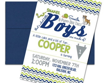 Snakes, Snails, and Puppy Dog Tails, Boys First Birthday Invitation-Custom Digital File