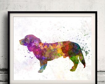 Alpine Dachsbracke 01 in watercolor 8x10 in. to 12x16 in.  Fine Art Print Poster Decor Home Watercolor Illustration Dog - SKU 0998