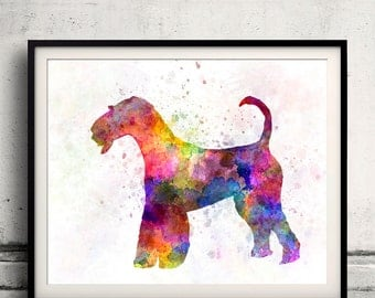Airedale Terrier 01 in watercolor 8x10 in. to 12x16 in.  Fine Art Print Poster Decor Home Watercolor Illustration Dog - SKU 1002