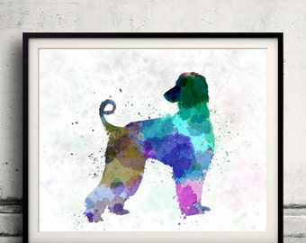Afgan Hound 01 in watercolor 8x10 in. to 12x16 in.  Fine Art Print Poster Decor Home Watercolor Illustration Dog - SKU 1008