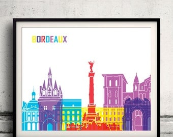 Bordeaux pop art skyline 8x10 in. to 12x16 in. Fine Art Print Glicee Poster Gift Illustration Pop Art Colorful Landmarks - SKU 0683