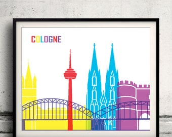 Cologne pop art skyline 8x10 in. to 12x16 in. Fine Art Print Glicee Poster Gift Illustration Pop Art Colorful Landmarks - SKU 0685