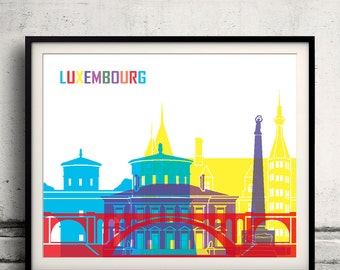Luxembourg pop art skyline 8x10 in. to 12x16 in. Fine Art Print Glicee Poster Gift Illustration Pop Art Colorful Landmarks - SKU 0686