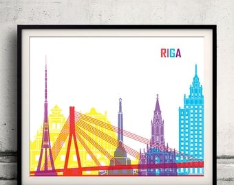 Riga pop art skyline 8x10 in. to 12x16 in. Fine Art Print Glicee Poster Gift Illustration Pop Art Colorful Landmarks - SKU 0687
