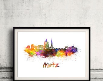 Metz skyline in watercolor over white background with name of city 8x10 in. to 12x16 in. Poster art Illustration Print  - SKU 0693