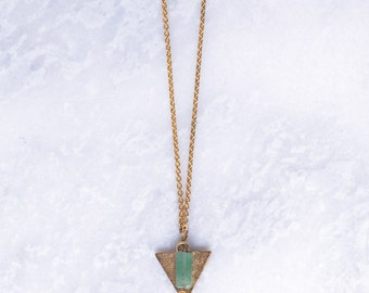 Gold Triangle and Green Rectangle Bead Necklace