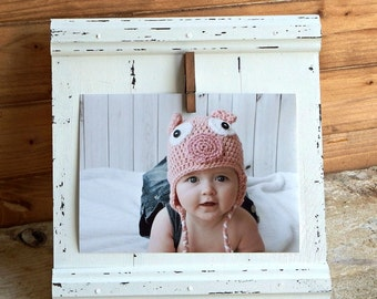 Wedding gift - 5x7 white picture frame - baby photo frame - rustic wedding frame - wooden photo frame - hanging picture frame