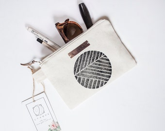 Geometric Zipper Jewelry Pouch, Pencil Case, Purse, Cosmetic bag with handmade print