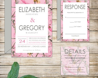 Rustic Pink Camo Realtree Country Wedding Invitations
