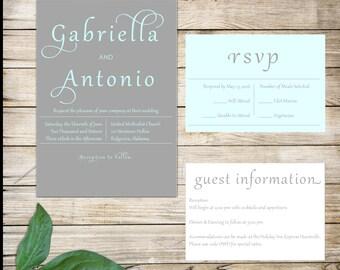 Modern Dark Grey and Mint Wedding Invitations
