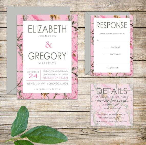 Camo Outdoor Wedding Ideas: Rustic Pink Camo Realtree Country Wedding Invitations