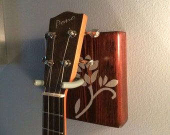 Wooden Ukulele (guitar, banjo) Hanger with Flower - single