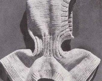 Knit Helmet Ski Hood Knitting Pattern #B-244 Knit Hat Pattern Men Women PDF Instant Download