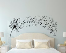 Dandelion Wall Decal Bedroom- Music Note Wall Decal Dandelion Wall Art Flower Decals Bedroom Living