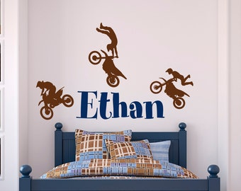 Name Wall Decal Boy- Dirt Bike Wall Decals- Motocross Baby Wall Decal Personalized Stickers Kids Boys Room Nursery Boy Decor Wall Art M065