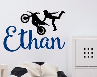 Dirt Bike Wall Decals  Name Wall Decal Boy  Wall Decal Dirt Bike  Personalized Boys Part 91