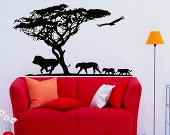 Animal Wall Decal Stickers Safari Nursery Decor- Safari Wall Decal- Jungle Wall Decal- Bedroom Nursery Living Room Wall Art Home Decor C095