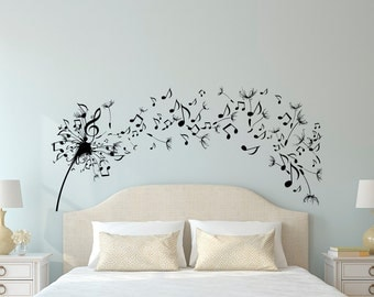 Dandelion Wall Decal Bedroom  Music Note Wall Decal Dandelion Wall Art  Flower Decals Bedroom Living