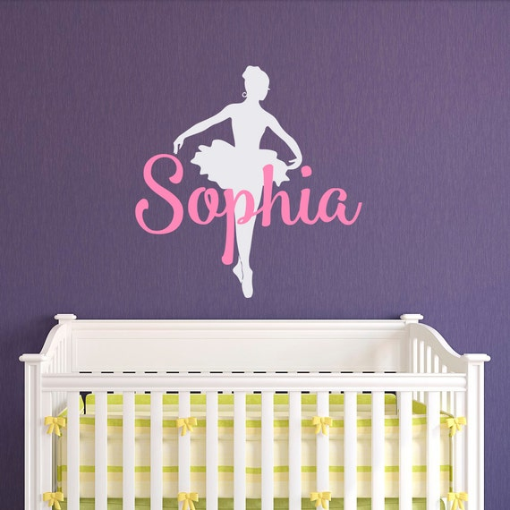 Ballerina Wall Decals Girls Name Personalized Custom Decal