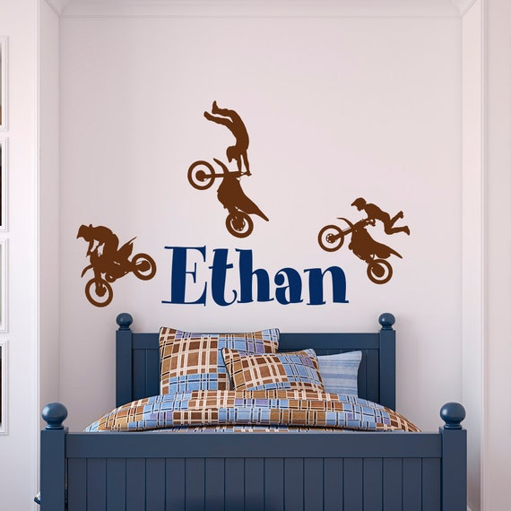 Name wall decal boy dirt bike wall decals motocross baby for Dirt bike wall mural