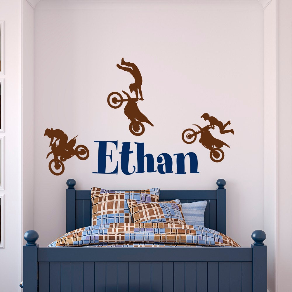 name wall decal boy dirt bike wall decals motocross baby. Black Bedroom Furniture Sets. Home Design Ideas