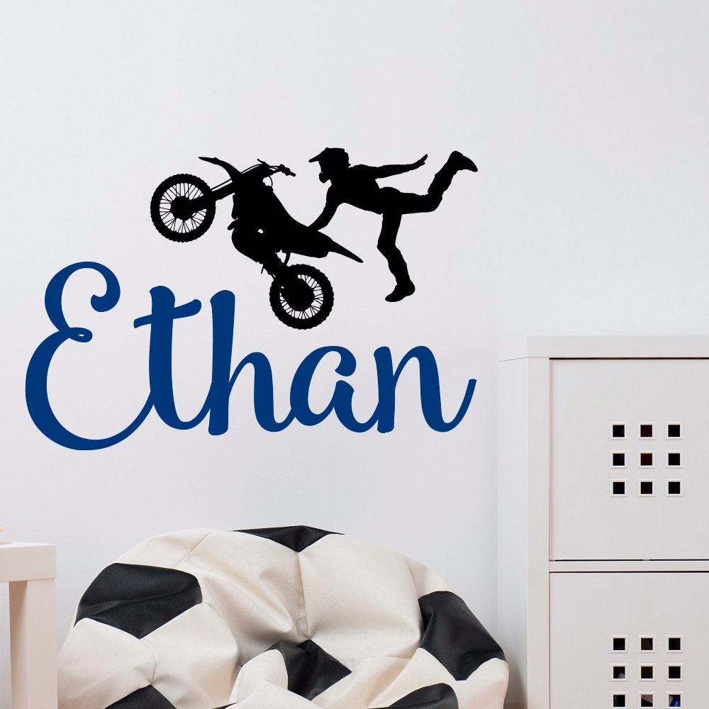 Dirt bike wall decals name wall decal boy wall decal dirt for Dirt bike wall mural