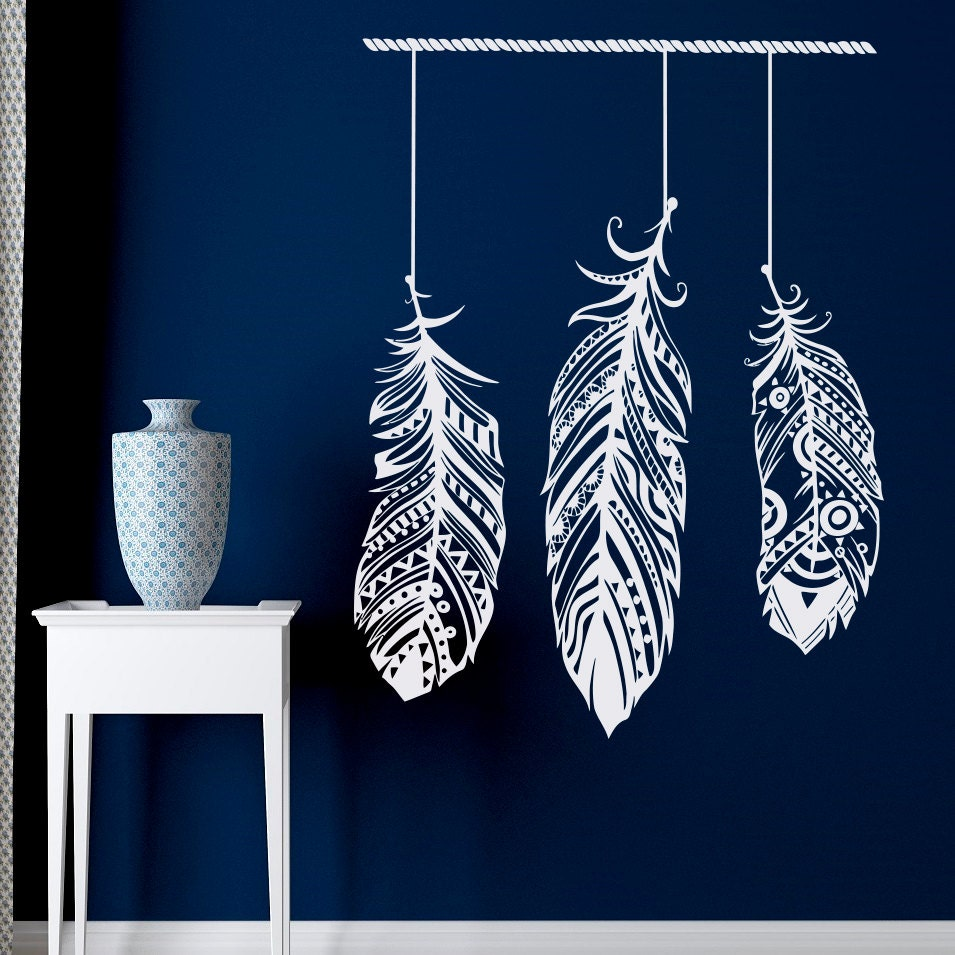 Feather wall decal stickers tribal wall art boho bohemian for Wall art decals