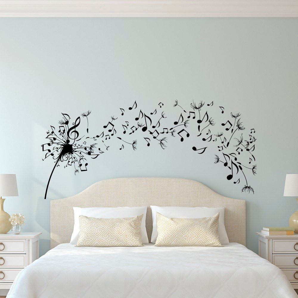 Dandelion wall decal bedroom music note wall decal dandelion for Bedroom wall mural designs