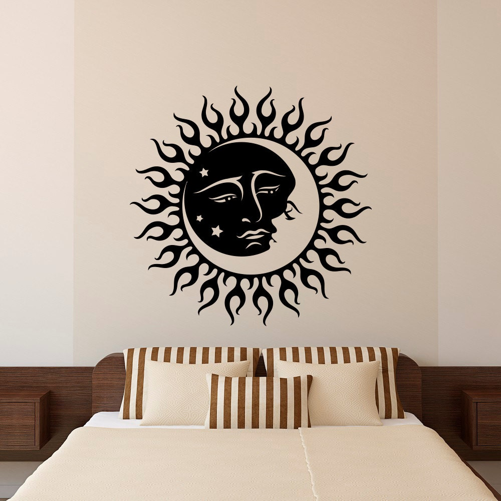 moon wall decal stickers sun and moon crescent by fabwalldecals. Black Bedroom Furniture Sets. Home Design Ideas