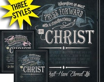 2016 Mutual Theme Posters - Press Forward with a Steadfastness in Christ. 3 Styles in PDF and Hi Res JPG. 8x10 inches. For LDS Young Women.