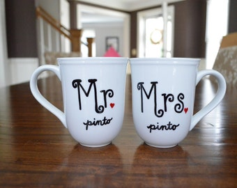 Mr and Mrs Hand painted mug - Wedding Mug - Bride & Groom Mug - Hand Painted Coffee Mugs - Bridal Gift