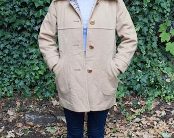 Vintage 100% Wool Coat Plaid Lining Miss Penguin Tan S
