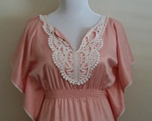 Batwing top, pink satin top, boho lace top, embroidered top, lace top, XS,  S