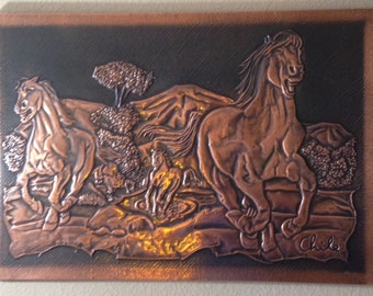 Copper Wild Horse Art