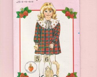 Girls Wide Collar Gathered Yoke Dress Sewing Pattern/ Butterick 6099 Loose, Long Sleeve Pleated Strawberry Shortcake Dress UnCut Size 5 6 6X