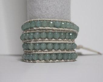 Wrap Bracelet - Aqua on White Leather