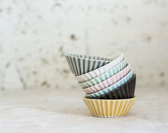 Set Of 6 Small,Mini Cupcake, Ceramic bowls, Ceramic Tapas Plates, Small Serving Dishes, Ceramic Appetizer Plates