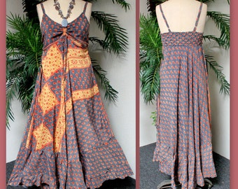 Elegant Summer Full Circle Maxi Dress from Small to Large , in Vintage jacquard Silk, Boho, Hip hop.
