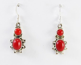 Red LOve Coral 925 Sterling Silver Handmade Earring Indian Jewellery Red by Amorejewels