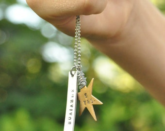 Brass Star, Hand stamped cancer jewelry, milestone year, colon cancer awareness, colon cancer survivor jewelry