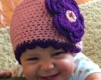 Little Girl Hat - Crochet Hat- Pink Hat with Plum Accents - Pink and Purple Hat- Crochet Flower Hat-