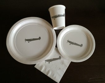 Airplane Party Pack - Plane Birthday - Travel Party Plates - Pilot Party - Clouds Baby Shower - Transportation Theme - Military Wings - Cups