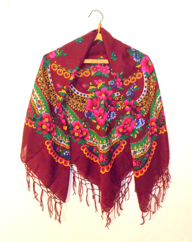 russian shawl ukrainian shawl vintage shawl an shawl