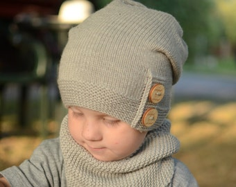 Knitted Boys Slouchy Beanie, Boys Slouchy Hat, Merino Wool Winter Hat, Boys Warm Beanie, Light Beige Hand Knitted Boys Beanie With Buttons